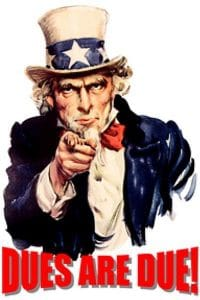 Picture of Uncle Sam Asking for Dues