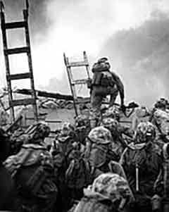 Marines going over the wall at Inchon